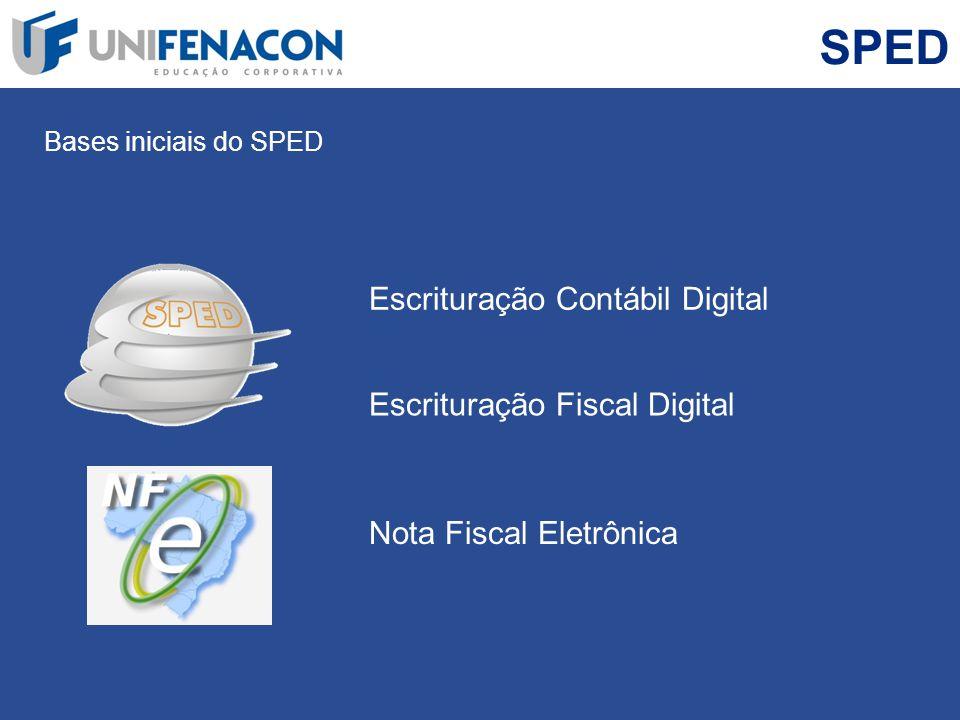 SPED Bases iniciais do SPED Nota Fiscal Eletrônica Escrituração Contábil Digital Escrituração Fiscal Digital