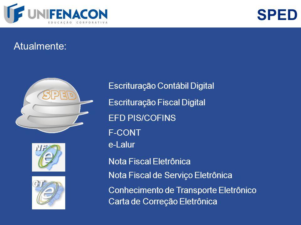 SPED Atualmente: Nota Fiscal Eletrônica Escrituração Contábil Digital Escrituração Fiscal Digital EFD PIS/COFINS Nota Fiscal de Serviço Eletrônica Con