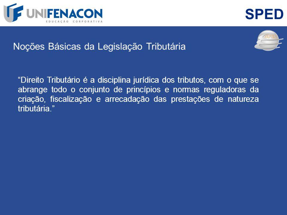 SPED Noções Básicas da Legislação Tributária Direito Tributário é a disciplina jurídica dos tributos, com o que se abrange todo o conjunto de princípi