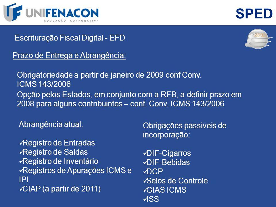 SPED Escrituração Fiscal Digital - EFD Prazo de Entrega e Abrangência: Obrigatoriedade a partir de janeiro de 2009 conf Conv. ICMS 143/2006 Opção pelo