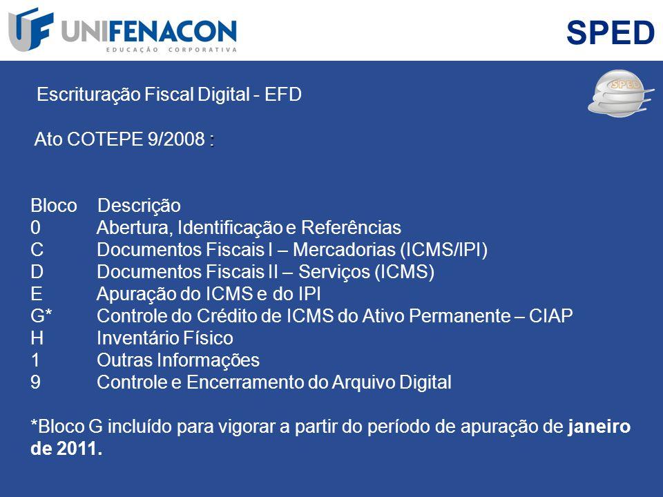 SPED Escrituração Fiscal Digital - EFD : Ato COTEPE 9/2008 : Bloco Descrição 0 Abertura, Identificação e Referências C Documentos Fiscais I – Mercador