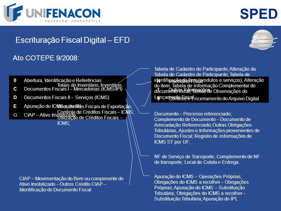 SPED Escrituração Fiscal Digital – EFD : Ato COTEPE 9/2008: Slide 39 0Abertura, Identificação e Referências CDocumentos Fiscais I – Mercadorias (ICMS/