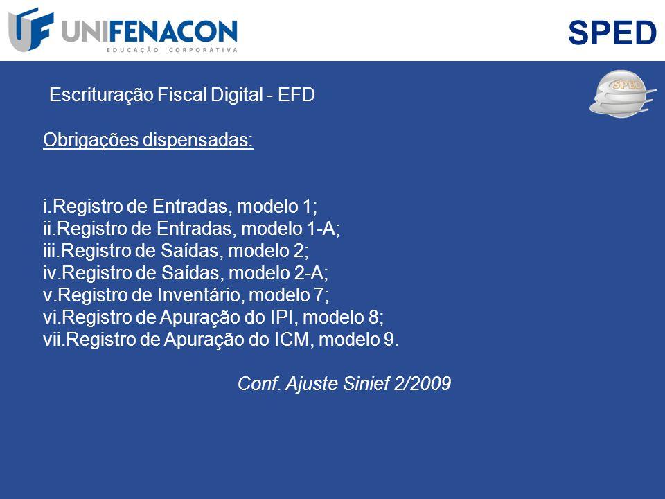 SPED Escrituração Fiscal Digital - EFD Obrigações dispensadas: i.Registro de Entradas, modelo 1; ii.Registro de Entradas, modelo 1-A; iii.Registro de