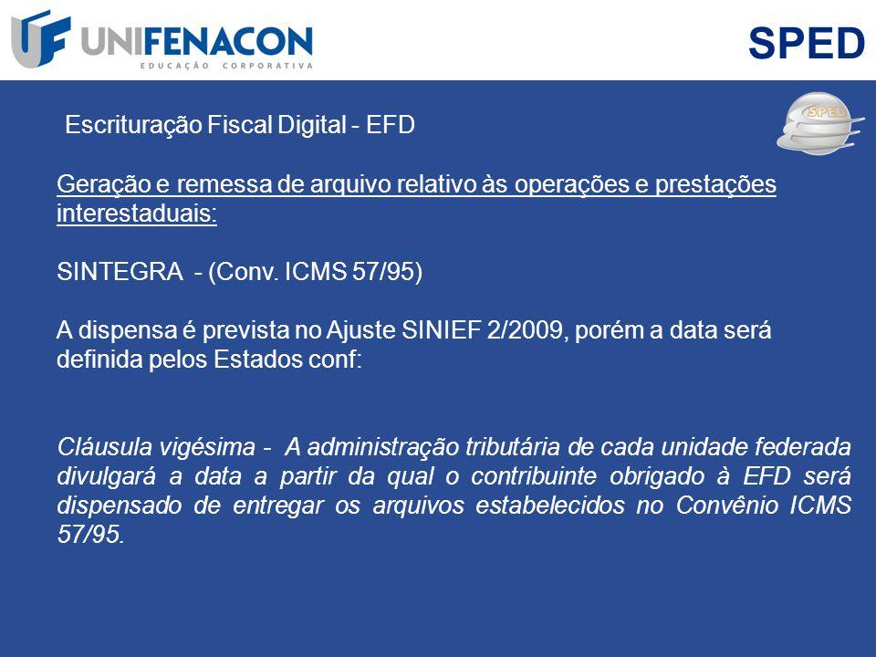 SPED Escrituração Fiscal Digital - EFD Geração e remessa de arquivo relativo às operações e prestações interestaduais: SINTEGRA - (Conv. ICMS 57/95) A