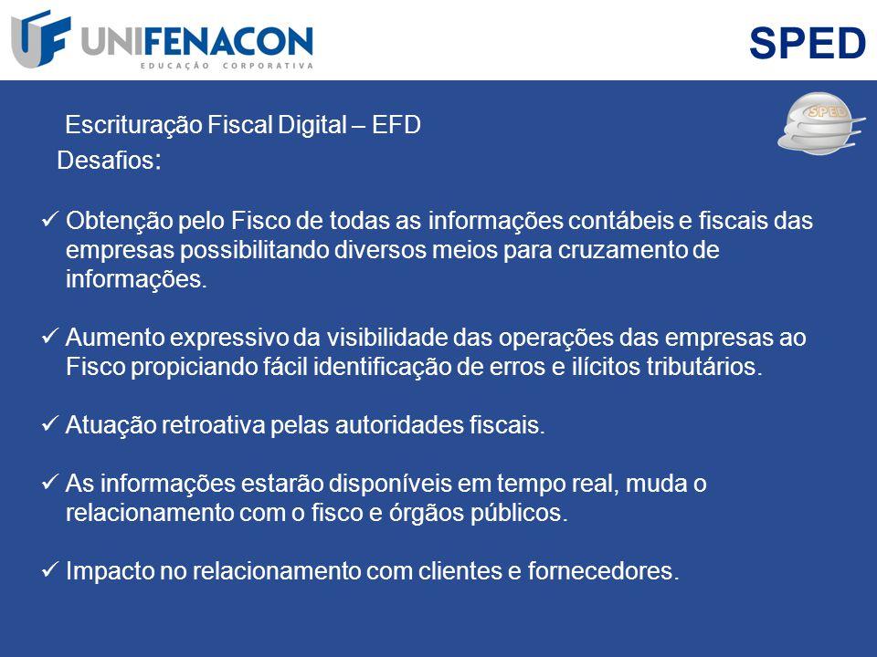 SPED Escrituração Fiscal Digital – EFD Desafios : Obtenção pelo Fisco de todas as informações contábeis e fiscais das empresas possibilitando diversos