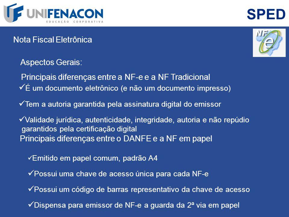 SPED Nota Fiscal Eletrônica Principais diferenças entre a NF-e e a NF Tradicional É um documento eletrônico (e não um documento impresso) Tem a autori