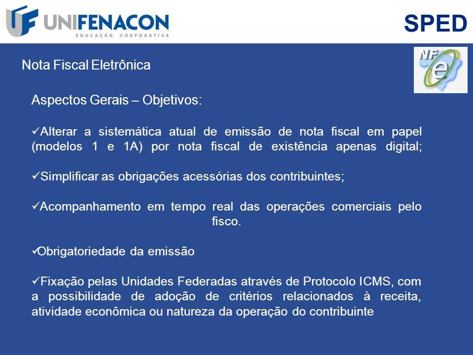 SPED Nota Fiscal Eletrônica Aspectos Gerais – Objetivos: Alterar a sistemática atual de emissão de nota fiscal em papel (modelos 1 e 1A) por nota fisc