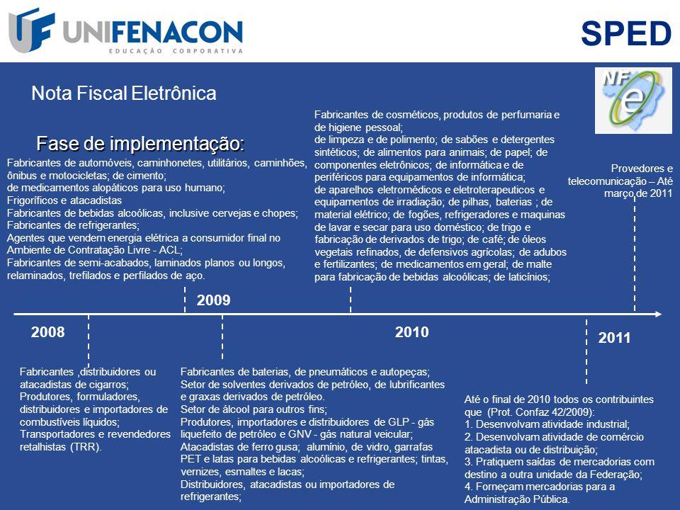 SPED Nota Fiscal Eletrônica Fase de implementação: Fabricantes,distribuidores ou atacadistas de cigarros; Produtores, formuladores, distribuidores e i