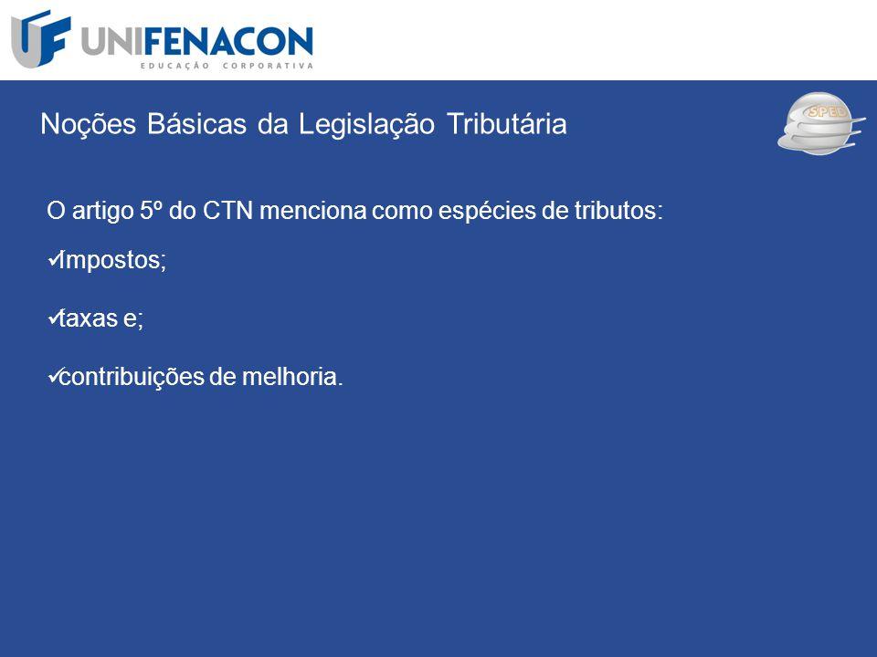 SPED Noções Básicas da Legislação Tributária O artigo 5º do CTN menciona como espécies de tributos: Impostos; taxas e; contribuições de melhoria.