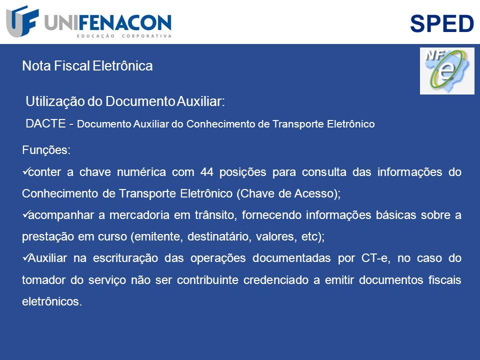 SPED Nota Fiscal Eletrônica Utilização do Documento Auxiliar: - DACTE - Documento Auxiliar do Conhecimento de Transporte Eletrônico Funções: conter a