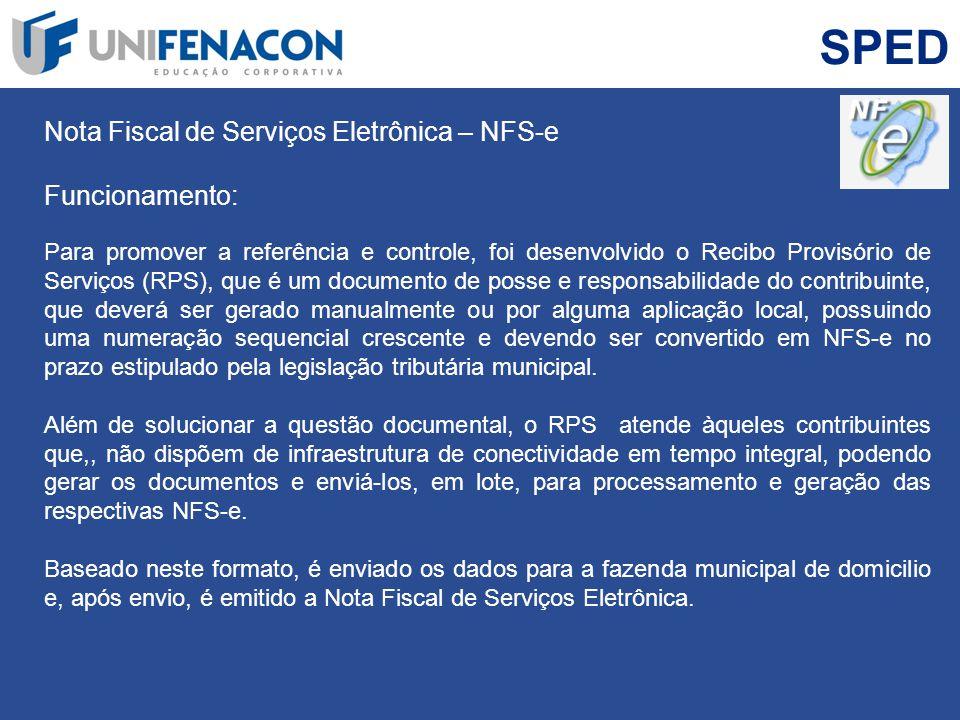 SPED Nota Fiscal de Serviços Eletrônica – NFS-e Funcionamento: Para promover a referência e controle, foi desenvolvido o Recibo Provisório de Serviços