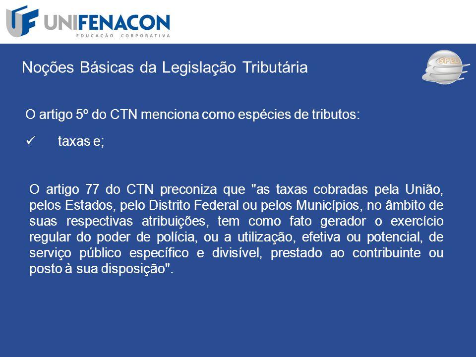 SPED Noções Básicas da Legislação Tributária O artigo 5º do CTN menciona como espécies de tributos: taxas e; O artigo 77 do CTN preconiza que