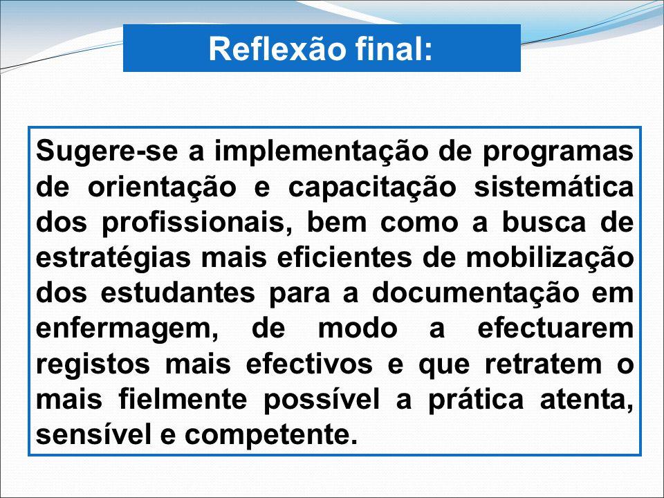 Reflexão final: Sugere-se a implementação de programas de orientação e capacitação sistemática dos profissionais, bem como a busca de estratégias mais