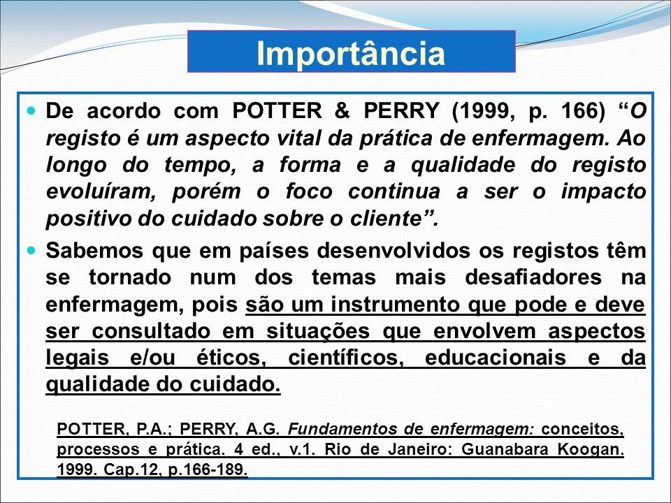 Importância De acordo com POTTER & PERRY (1999, p. 166) O registo é um aspecto vital da prática de enfermagem. Ao longo do tempo, a forma e a qualidad