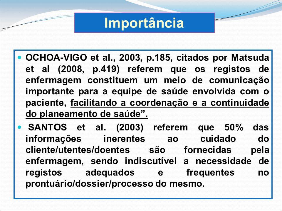 OCHOA-VIGO et al., 2003, p.185, citados por Matsuda et al (2008, p.419) referem que os registos de enfermagem constituem um meio de comunicação import