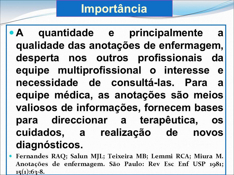 Finalidades dos registos de enfermagem Facilitar a comunicação na equipa; planeamento e a continuidade dos cuidados; Contribuir para avaliação dos cuidados (auditoria); Servir como documento legal.