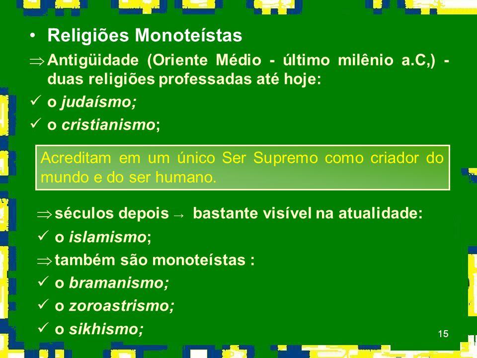 15 Religiões Monoteístas ÞAntigüidade (Oriente Médio - último milênio a.C,) - duas religiões professadas até hoje: o judaísmo; o cristianismo; Acreditam em um único Ser Supremo como criador do mundo e do ser humano.