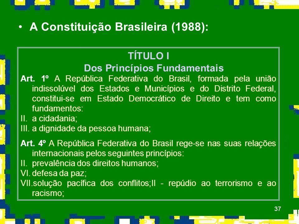 37 A Constituição Brasileira (1988): TÍTULO I Dos Princípios Fundamentais Art.