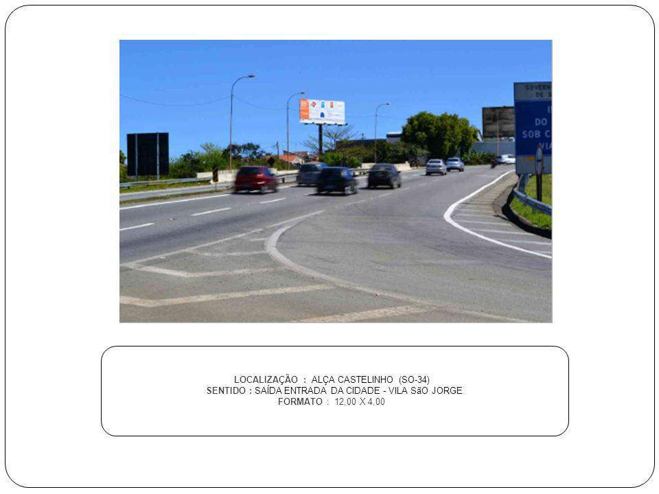 LOCALIZAÇÃO : ALÇA CASTELINHO (SO-34) SENTIDO : SAÍDA ENTRADA DA CIDADE - VILA SãO JORGE FORMATO : 12,00 X 4,00