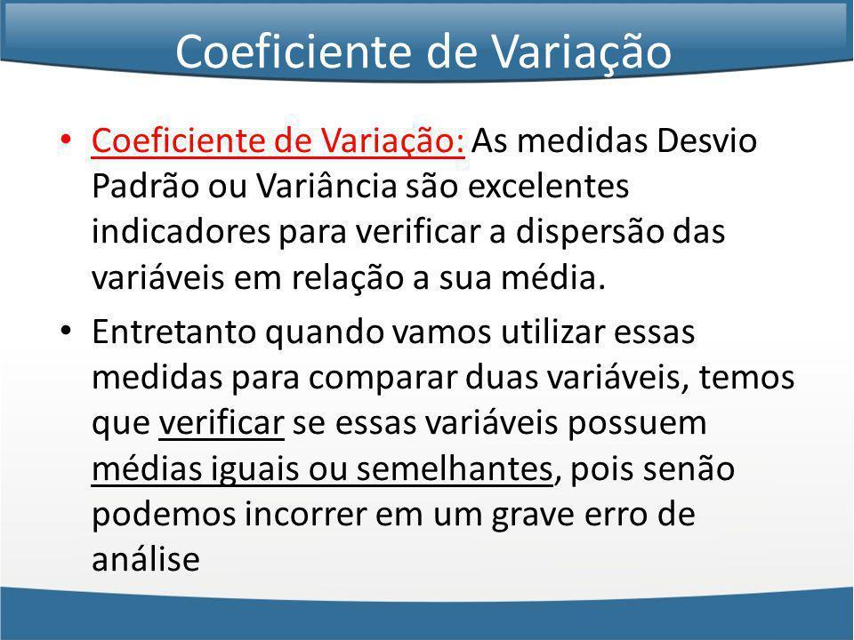 Coeficiente de Variação Coeficiente de Variação: As medidas Desvio Padrão ou Variância são excelentes indicadores para verificar a dispersão das variáveis em relação a sua média.