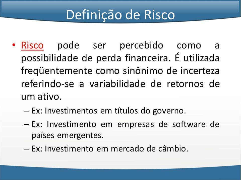 Definição de Risco Risco pode ser percebido como a possibilidade de perda financeira.