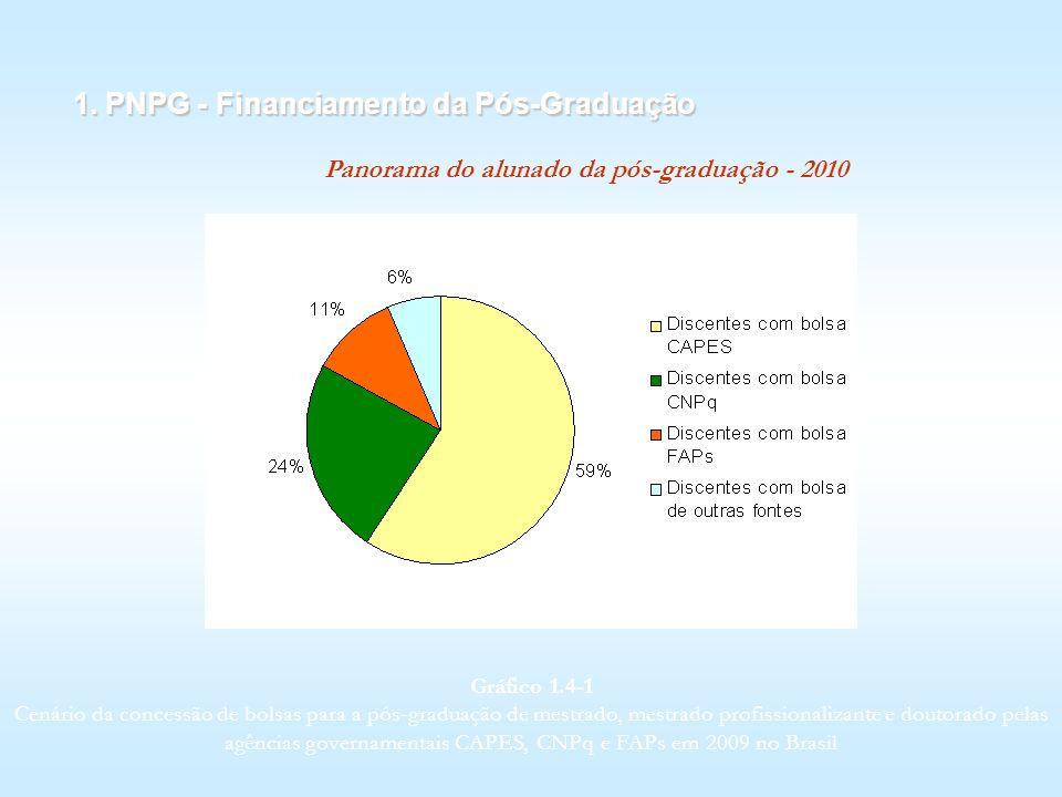 1. PNPG - Financiamento da Pós-Graduação Panorama do alunado da pós-graduação - 2010 Gráfico 1.4 1 Cenário da concessão de bolsas para a pós-graduação