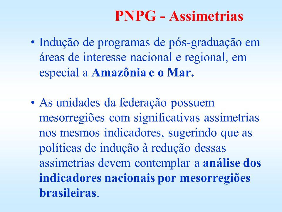 PNPG - Assimetrias Indução de programas de pós-graduação em áreas de interesse nacional e regional, em especial a Amazônia e o Mar. As unidades da fed