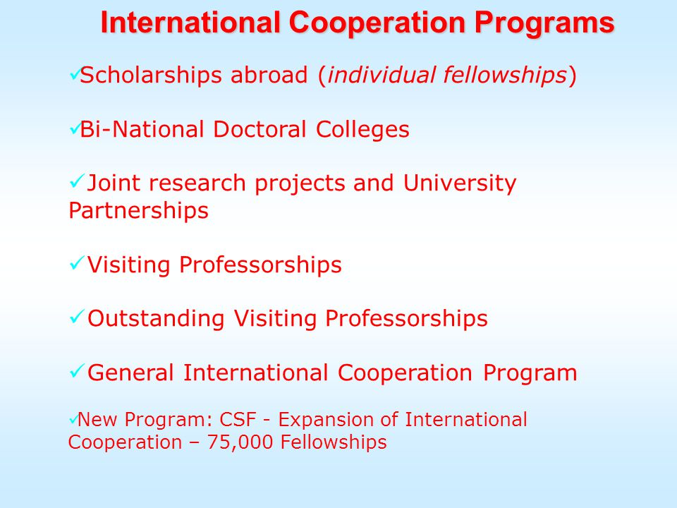 Scholarships abroad (individual fellowships) Bi-National Doctoral Colleges Joint research projects and University Partnerships Visiting Professorships