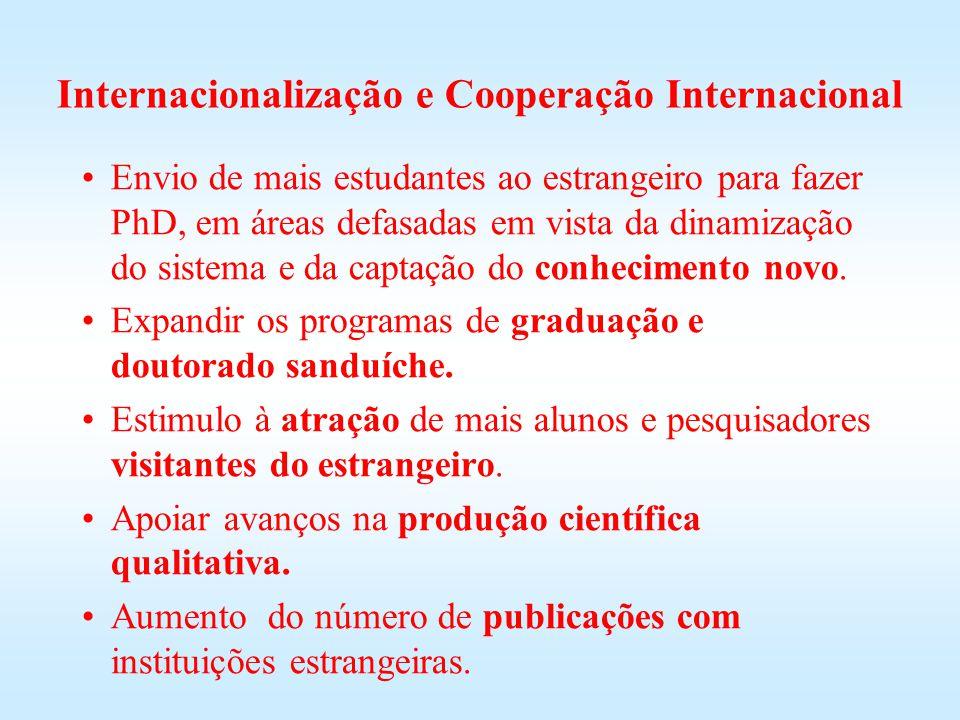 Internacionalização e Cooperação Internacional Envio de mais estudantes ao estrangeiro para fazer PhD, em áreas defasadas em vista da dinamização do s
