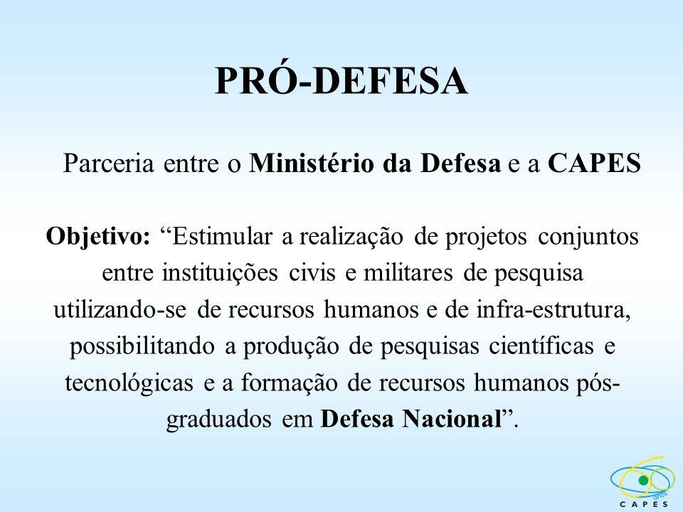 Parceria entre o Ministério da Defesa e a CAPES Objetivo: Estimular a realização de projetos conjuntos entre instituições civis e militares de pesquis