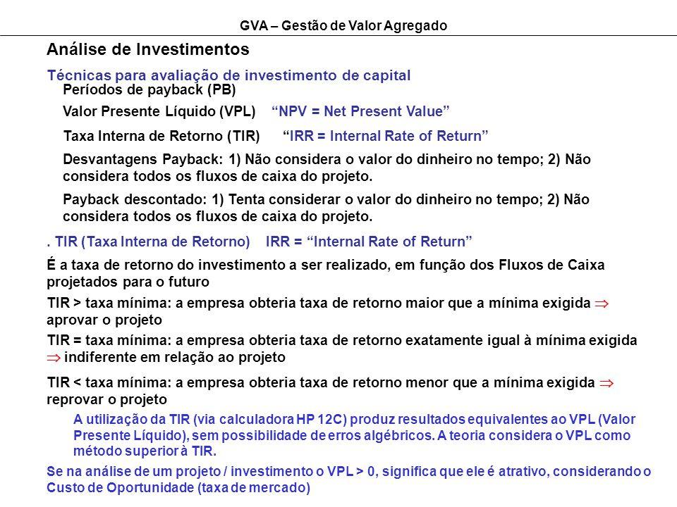 GVA – Gestão de Valor Agregado Análise de Investimentos. TIR (Taxa Interna de Retorno) IRR = Internal Rate of Return A utilização da TIR (via calculad