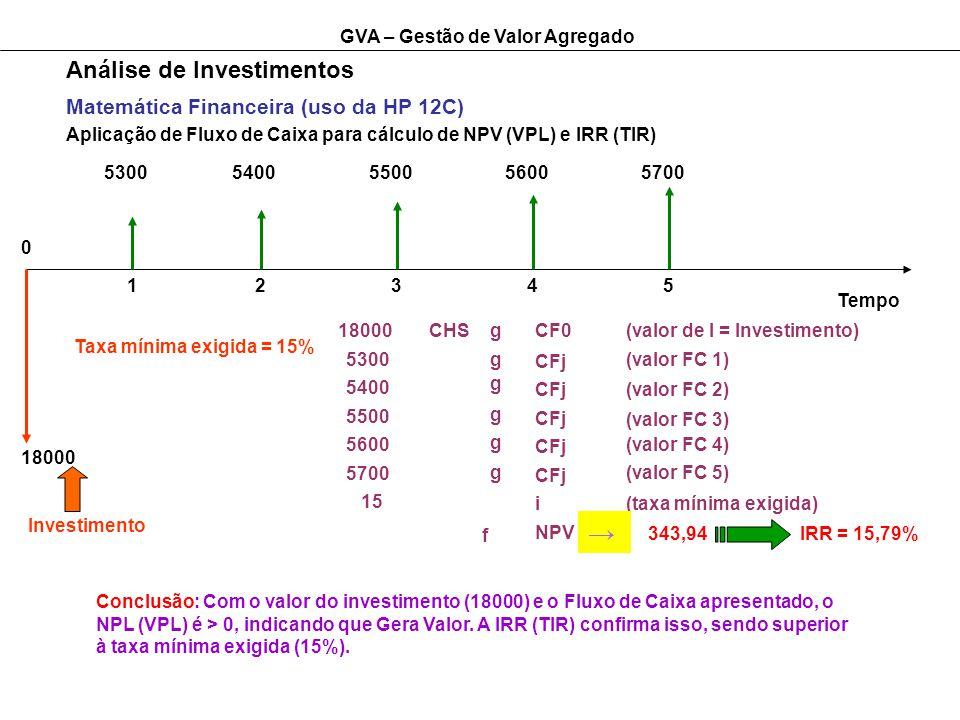 GVA – Gestão de Valor Agregado Análise de Investimentos Matemática Financeira (uso da HP 12C) Aplicação de Fluxo de Caixa para cálculo de NPV (VPL) e IRR (TIR) Tempo 12345 0 18000 Investimento 53005400550056005700 Taxa mínima exigida = 15% 18000CHSgCF0(valor de I = Investimento) 5300 5400 5500 5600 5700 15 g g g g g CFj i NPV f (valor FC 1) (valor FC 2) (valor FC 3) (valor FC 4) (valor FC 5) (taxa mínima exigida) 343,94IRR = 15,79% Conclusão: Com o valor do investimento (18000) e o Fluxo de Caixa apresentado, o NPL (VPL) é > 0, indicando que Gera Valor.