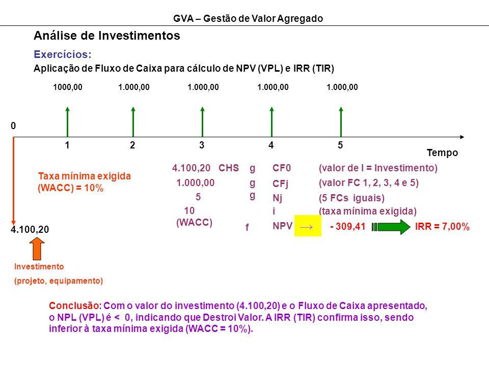 GVA – Gestão de Valor Agregado Análise de Investimentos Exercícios: Aplicação de Fluxo de Caixa para cálculo de NPV (VPL) e IRR (TIR) Tempo 12345 0 4.100,20 Investimento (projeto, equipamento) 1000,001.000,00 Taxa mínima exigida (WACC) = 10% 4.100,20CHSgCF0(valor de I = Investimento) 1.000,00 5 10 (WACC) g g CFj Nj i NPV f (valor FC 1, 2, 3, 4 e 5) (5 FCs iguais) (taxa mínima exigida) - 309,41IRR = 7,00% Conclusão: Com o valor do investimento (4.100,20) e o Fluxo de Caixa apresentado, o NPL (VPL) é < 0, indicando que Destroi Valor.