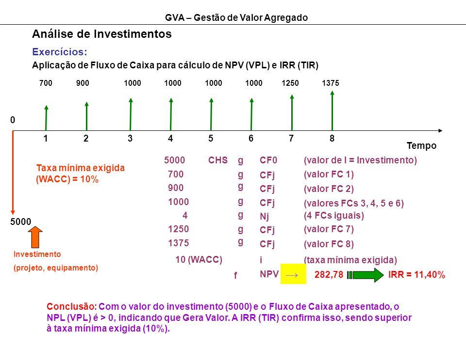 GVA – Gestão de Valor Agregado Análise de Investimentos Exercícios: Aplicação de Fluxo de Caixa para cálculo de NPV (VPL) e IRR (TIR) Tempo 12345 0 5000 Investimento (projeto, equipamento) 700 Taxa mínima exigida (WACC) = 10% 5000CHSgCF0(valor de I = Investimento) 700 900 1000 4 10 (WACC) g g g g CFj Nj i NPV f (valor FC 1) (valor FC 2) (valores FCs 3, 4, 5 e 6) (4 FCs iguais) (taxa mínima exigida) 282,78IRR = 11,40% Conclusão: Com o valor do investimento (5000) e o Fluxo de Caixa apresentado, o NPL (VPL) é > 0, indicando que Gera Valor.