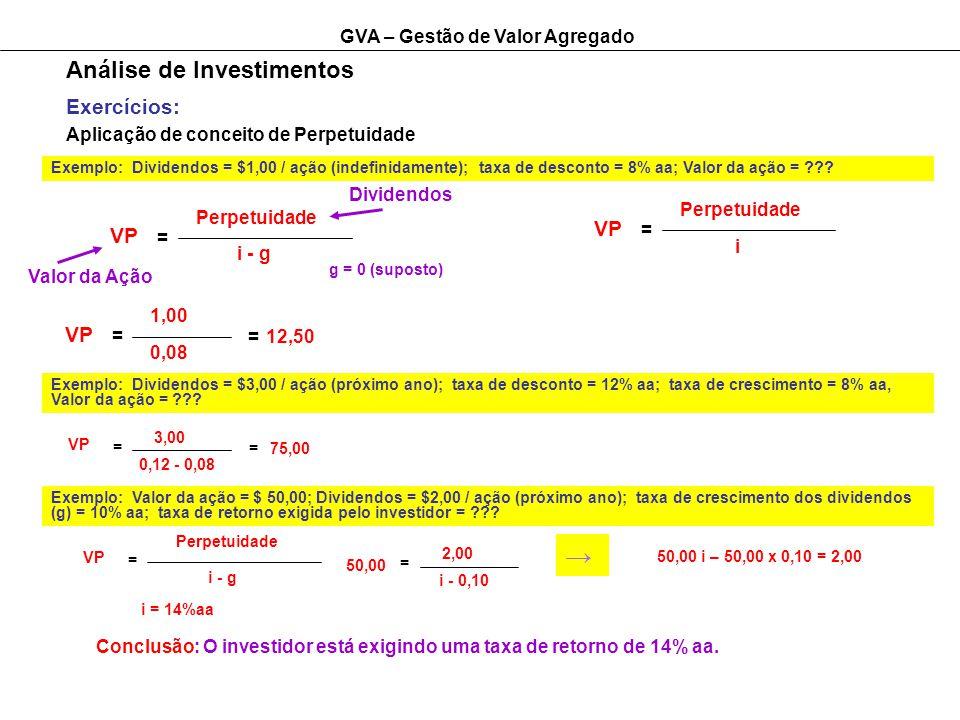 GVA – Gestão de Valor Agregado Análise de Investimentos Exercícios: Aplicação de conceito de Perpetuidade Exemplo: Dividendos = $1,00 / ação (indefinidamente); taxa de desconto = 8% aa; Valor da ação = ??.