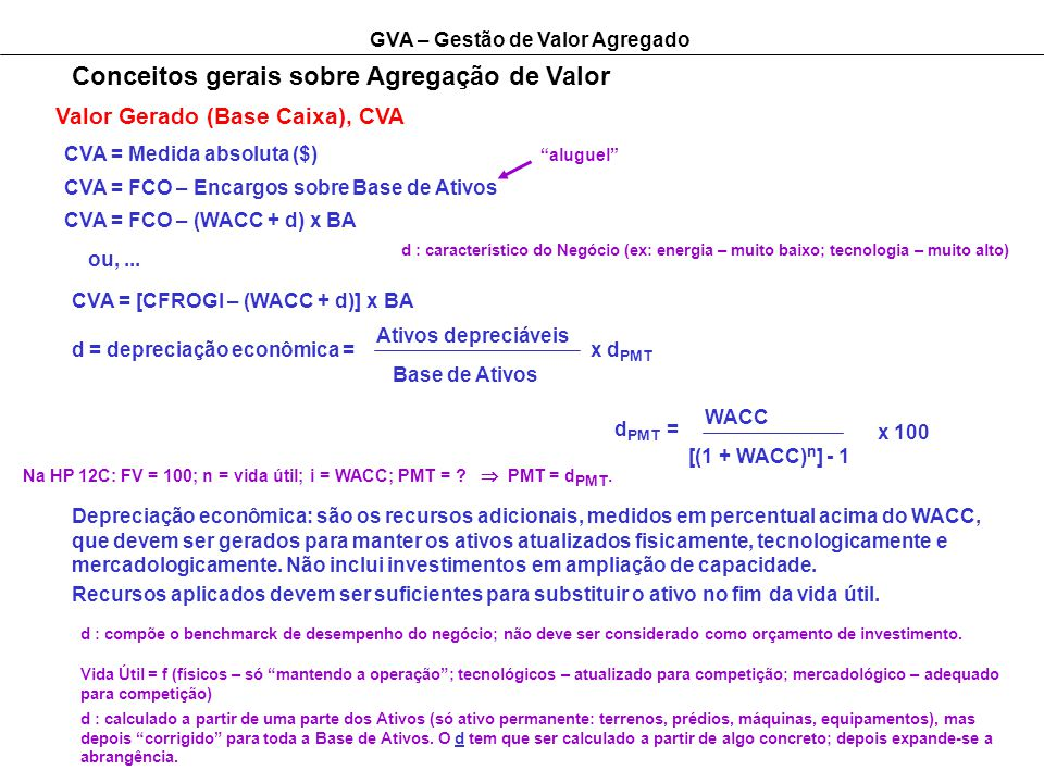 GVA – Gestão de Valor Agregado Conceitos gerais sobre Agregação de Valor Valor Gerado (Base Caixa), CVA CVA = Medida absoluta ($) aluguel CVA = FCO –
