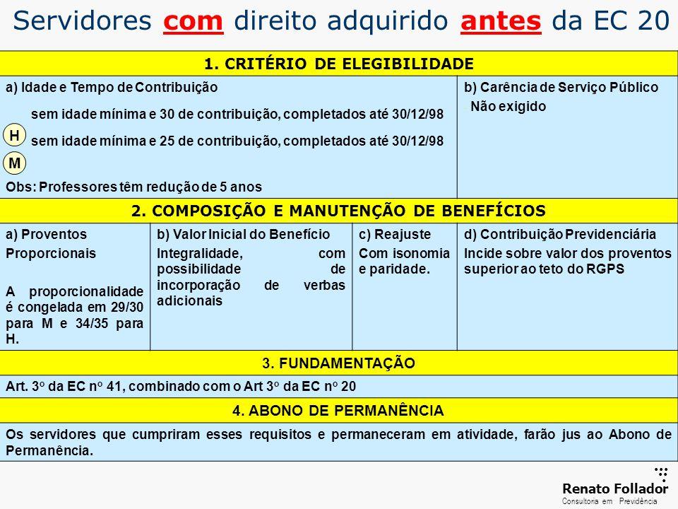 ...... RenatoFollador Consultoria emPrevidência Servidores com direito adquirido antes da EC 20 1. CRITÉRIO DE ELEGIBILIDADE a) Idade e Tempo de Contr