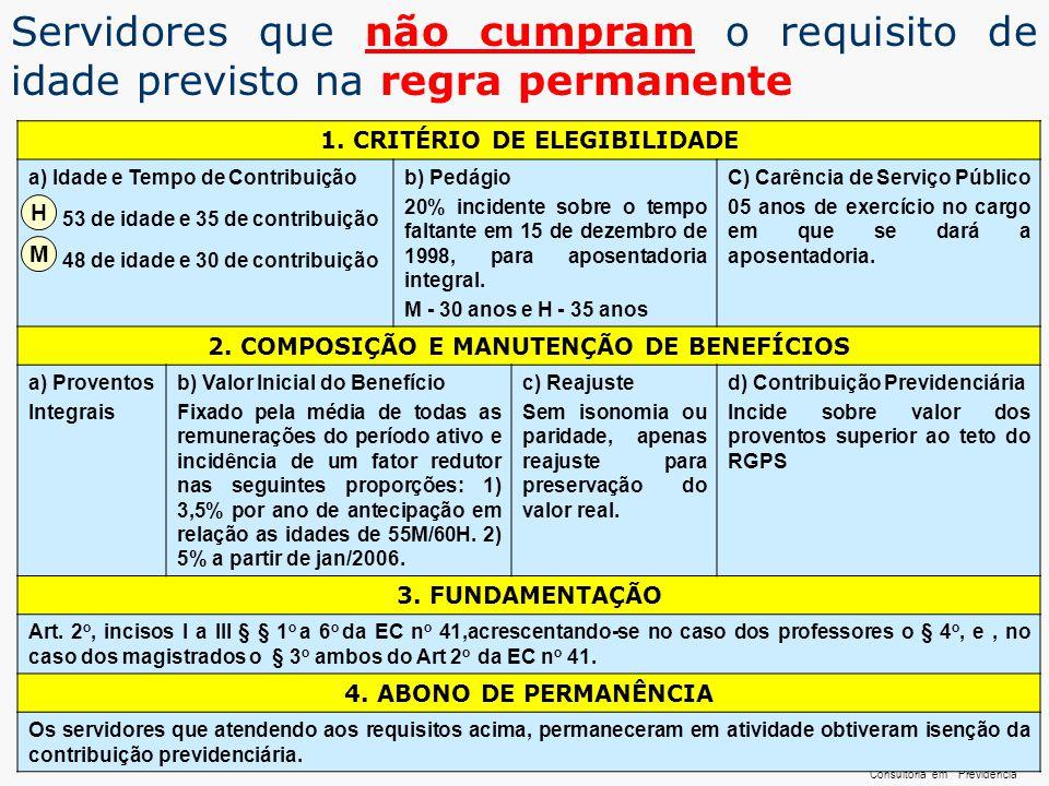 ...... RenatoFollador Consultoria emPrevidência 1. CRITÉRIO DE ELEGIBILIDADE a) Idade e Tempo de Contribuição 53 de idade e 35 de contribuição 48 de i