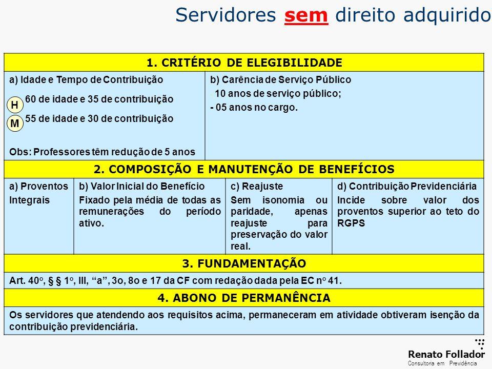 ...... RenatoFollador Consultoria emPrevidência 1. CRITÉRIO DE ELEGIBILIDADE a) Idade e Tempo de Contribuição 60 de idade e 35 de contribuição 55 de i
