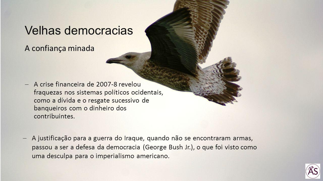 A crise financeira de 2007-8 revelou fraquezas nos sistemas políticos ocidentais, como a dívida e o resgate sucessivo de banqueiros com o dinheiro dos