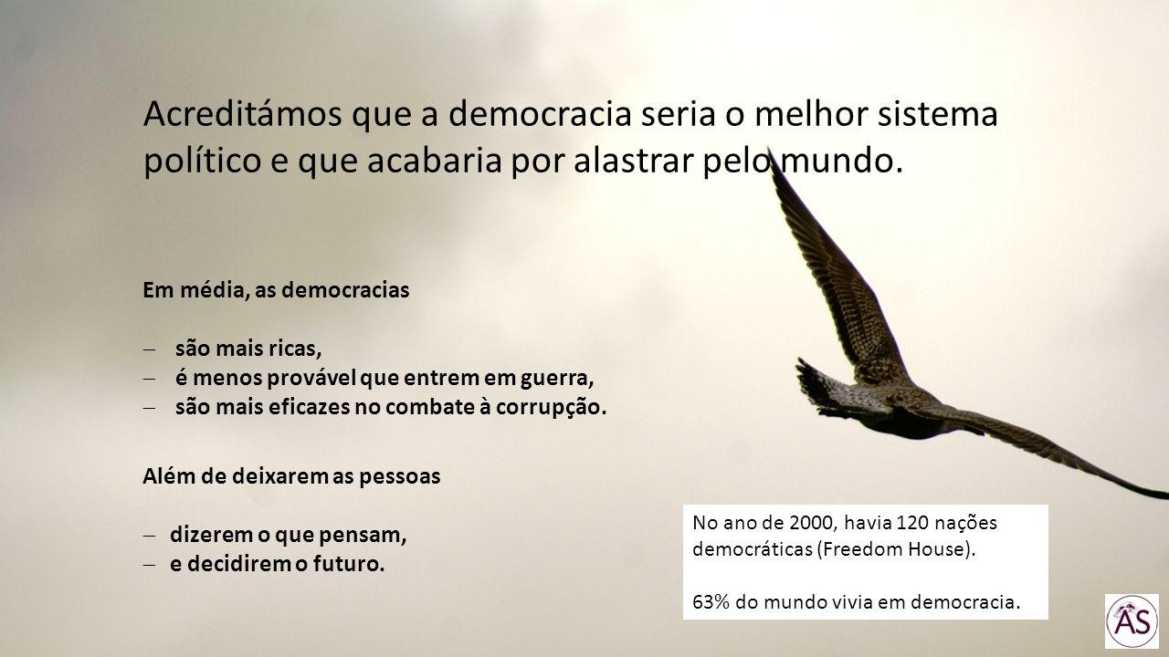 Acreditámos que a democracia seria o melhor sistema político e que acabaria por alastrar pelo mundo. Além de deixarem as pessoas dizerem o que pensam,