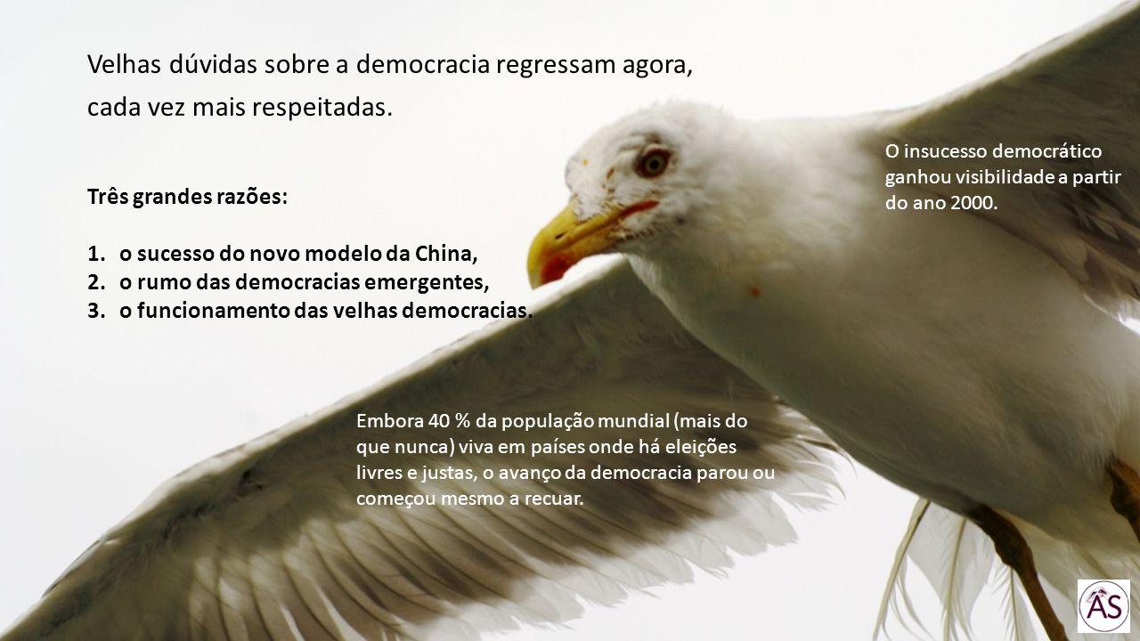Velhas dúvidas sobre a democracia regressam agora, cada vez mais respeitadas. Três grandes razões: 1.o sucesso do novo modelo da China, 2.o rumo das d