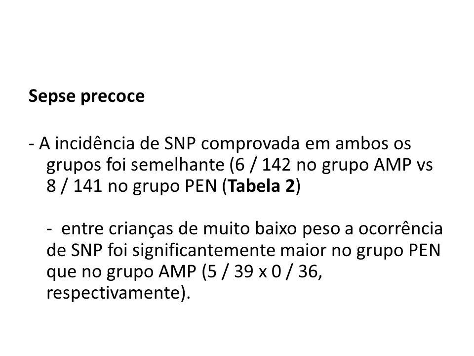Sepse precoce - A incidência de SNP comprovada em ambos os grupos foi semelhante (6 / 142 no grupo AMP vs 8 / 141 no grupo PEN (Tabela 2) - entre cria