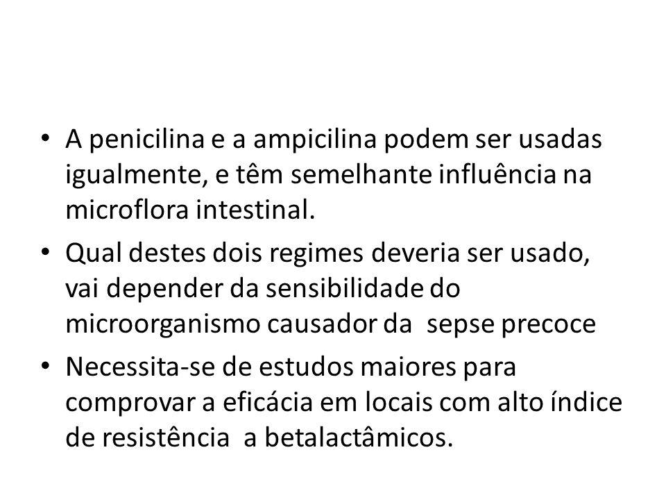 A penicilina e a ampicilina podem ser usadas igualmente, e têm semelhante influência na microflora intestinal. Qual destes dois regimes deveria ser us