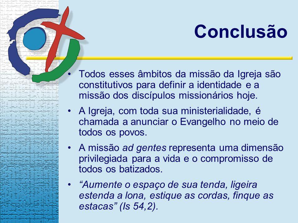 Conclusão Todos esses âmbitos da missão da Igreja são constitutivos para definir a identidade e a missão dos discípulos missionários hoje.