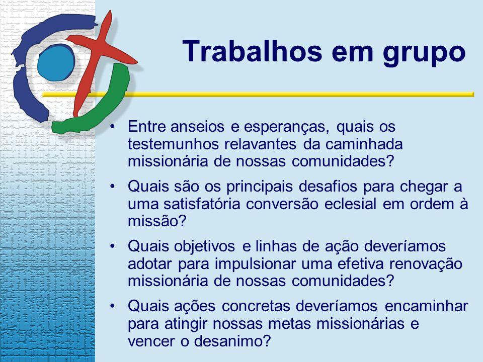 Trabalhos em grupo Entre anseios e esperanças, quais os testemunhos relavantes da caminhada missionária de nossas comunidades.