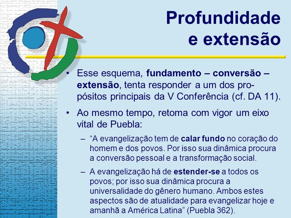 Esse esquema, fundamento – conversão – extensão, tenta responder a um dos pro- pósitos principais da V Conferência (cf.