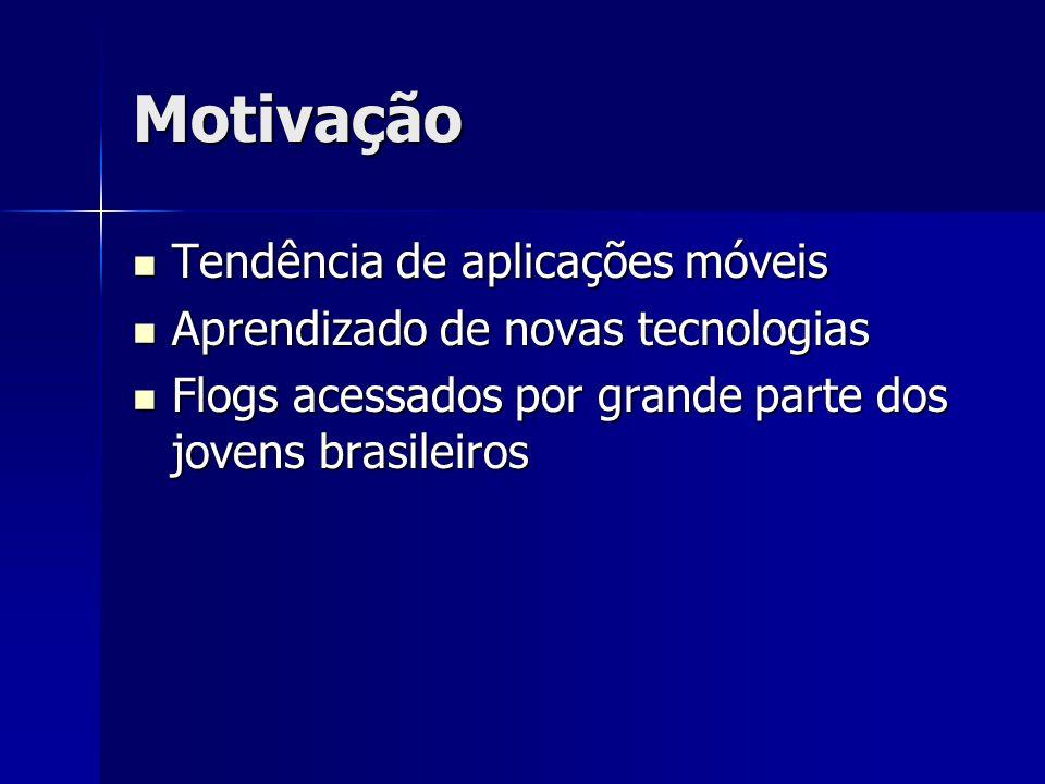 Motivação Tendência de aplicações móveis Tendência de aplicações móveis Aprendizado de novas tecnologias Aprendizado de novas tecnologias Flogs acessados por grande parte dos jovens brasileiros Flogs acessados por grande parte dos jovens brasileiros