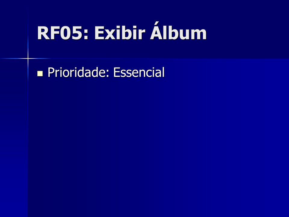 RF05: Exibir Álbum Prioridade: Essencial Prioridade: Essencial