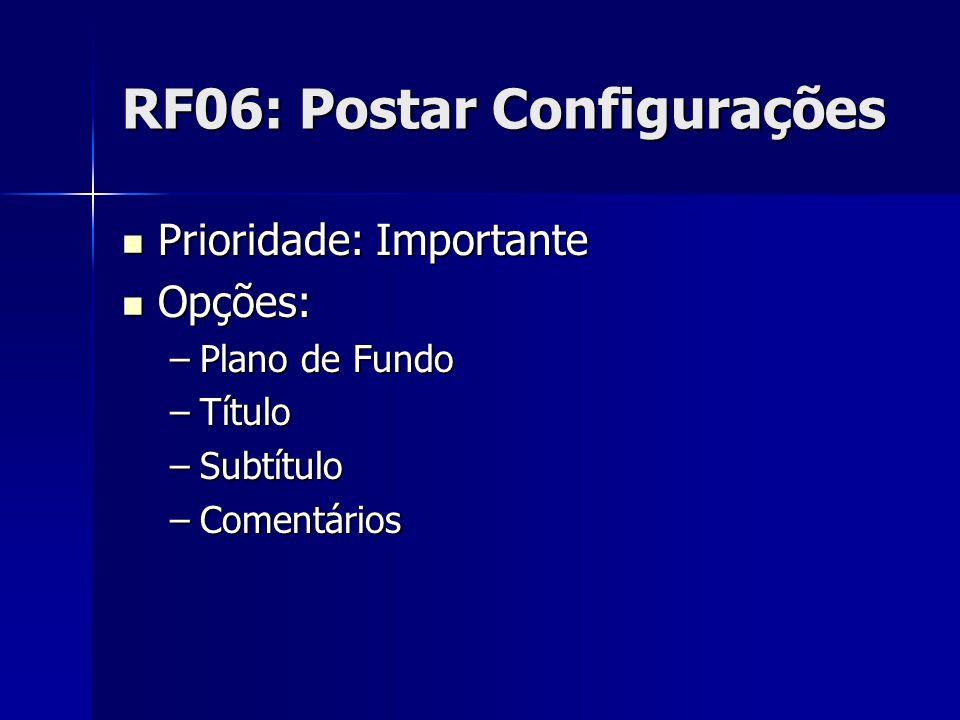 RF06: Postar Configurações Prioridade: Importante Prioridade: Importante Opções: Opções: –Plano de Fundo –Título –Subtítulo –Comentários